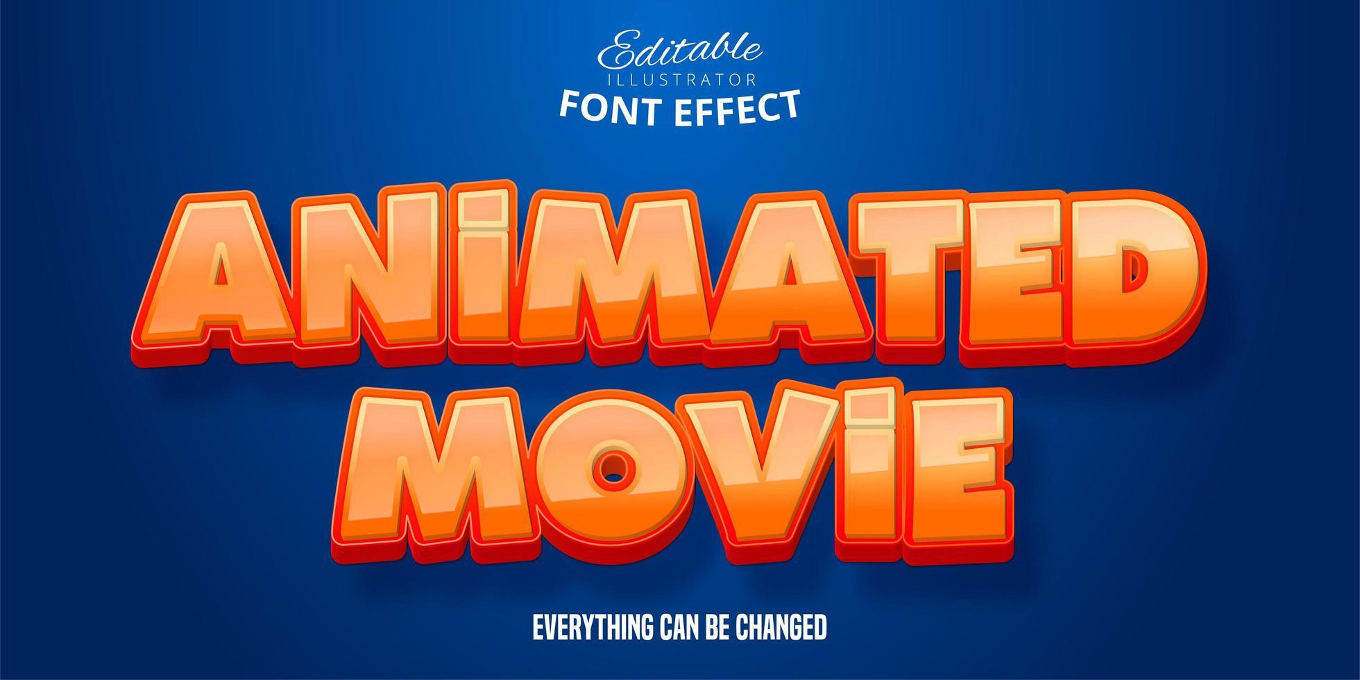 efeito de texto de filme animado vetor