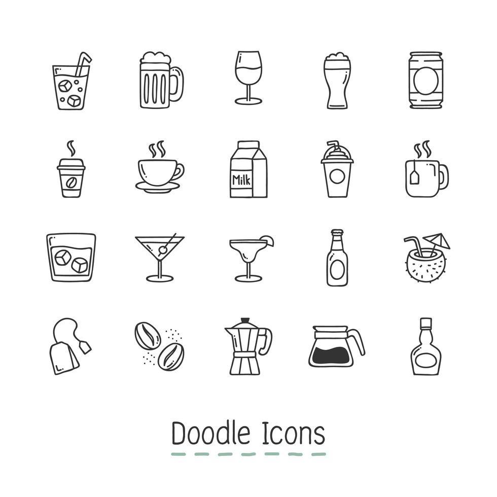 Doodle conjunto de ícones de bebidas vetor