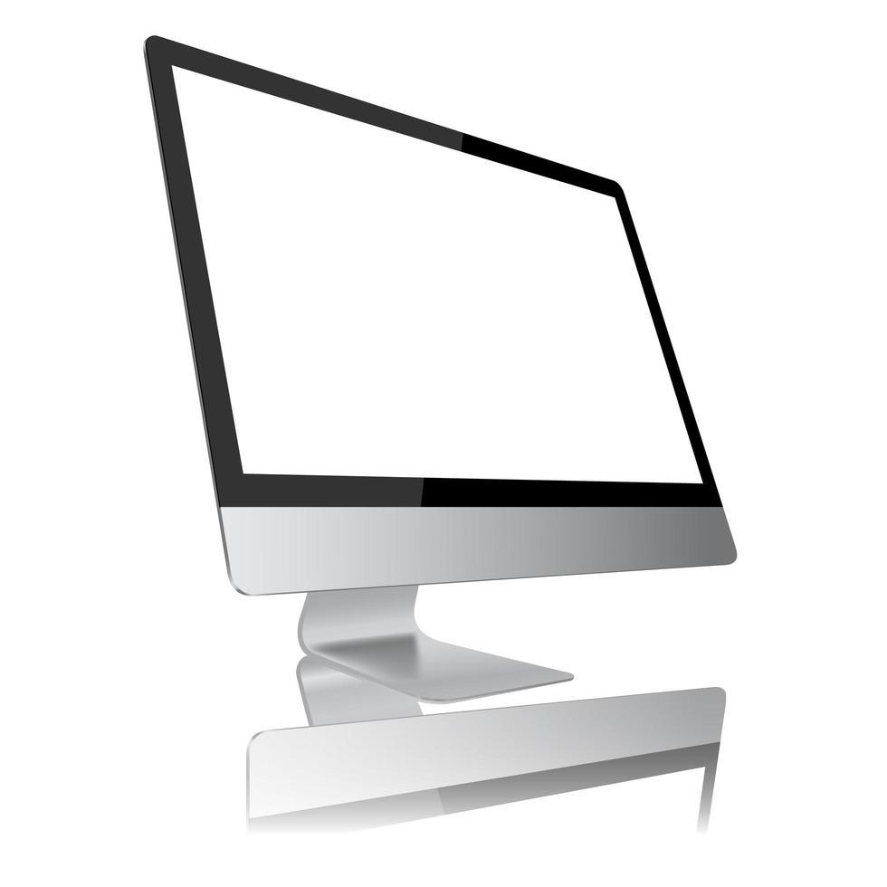 Vista lateral do monitor do computador moderno vetor