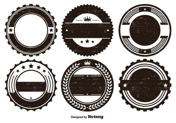 Conjunto de formas de distintivo afligido vetor