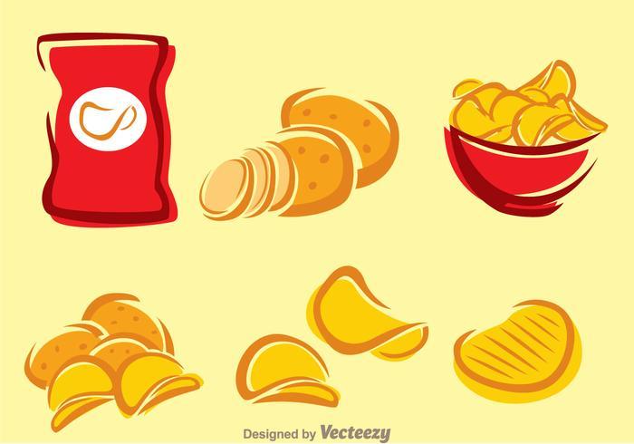 Ícones de batata frita vetor