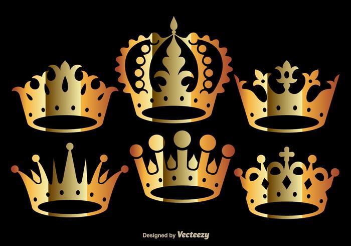 Vetores da coroa dourada