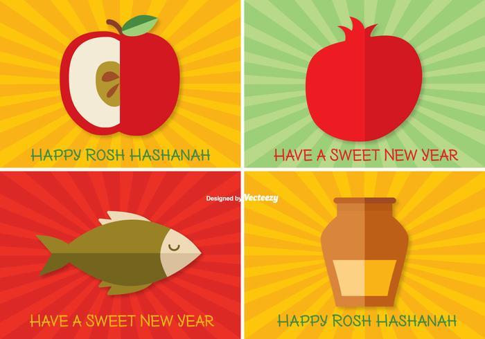 Rosh hashanah label set vetor