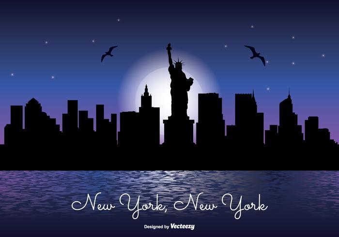 Ilustração da skyline da noite de Nova York vetor