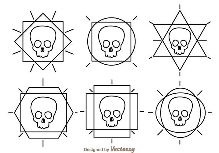 Ícones de vetor de esboço de crânio