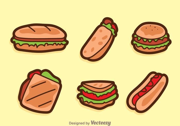 Ícones dos desenhos animados Sandwich Cartoon vetor