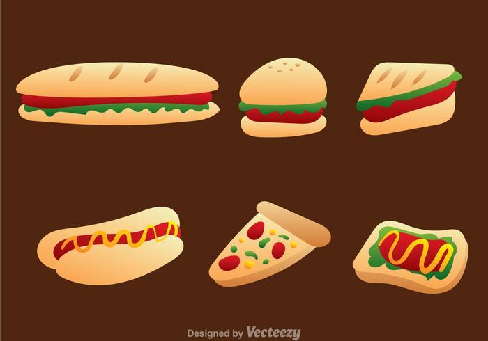 Conjunto de vetores de ícones de fast food