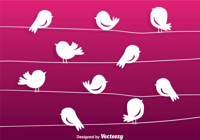Silhueta de pássaro de desenho animado em um vetor de fio