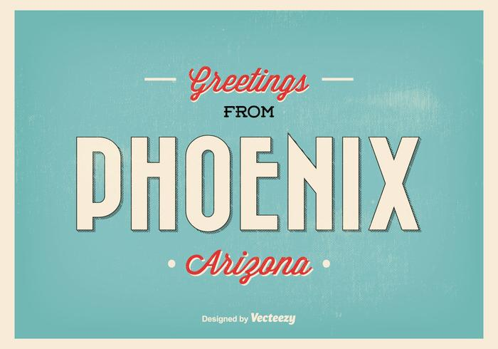 Phoenix Retro Greeting Illustration vetor