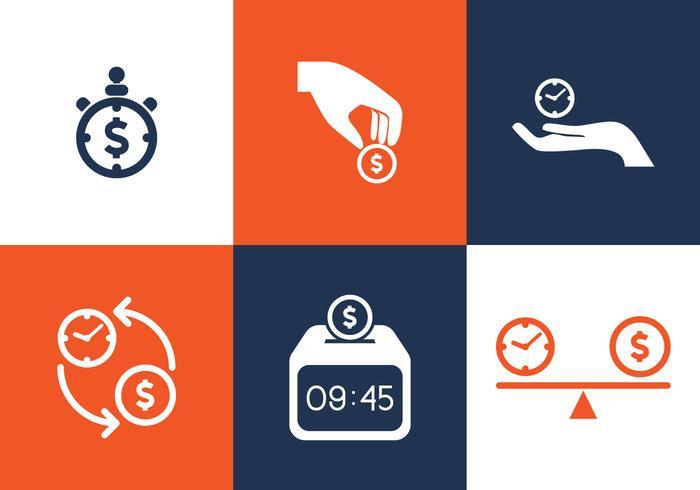 Tempo do vetor é o conjunto de ícones de dinheiro