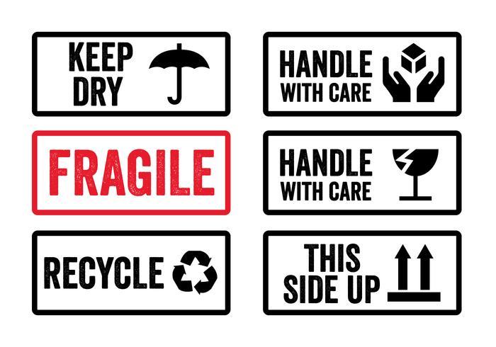 Pegue com etiquetas de cuidados no vetor
