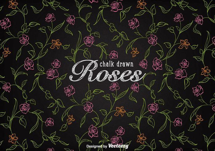 Vetor de fundo de rosas desenhadas com giz grátis