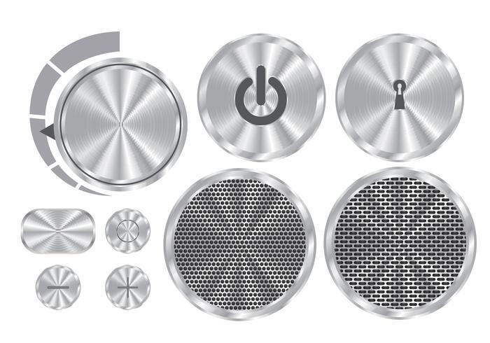 Botões de vetor de alumínio escovado