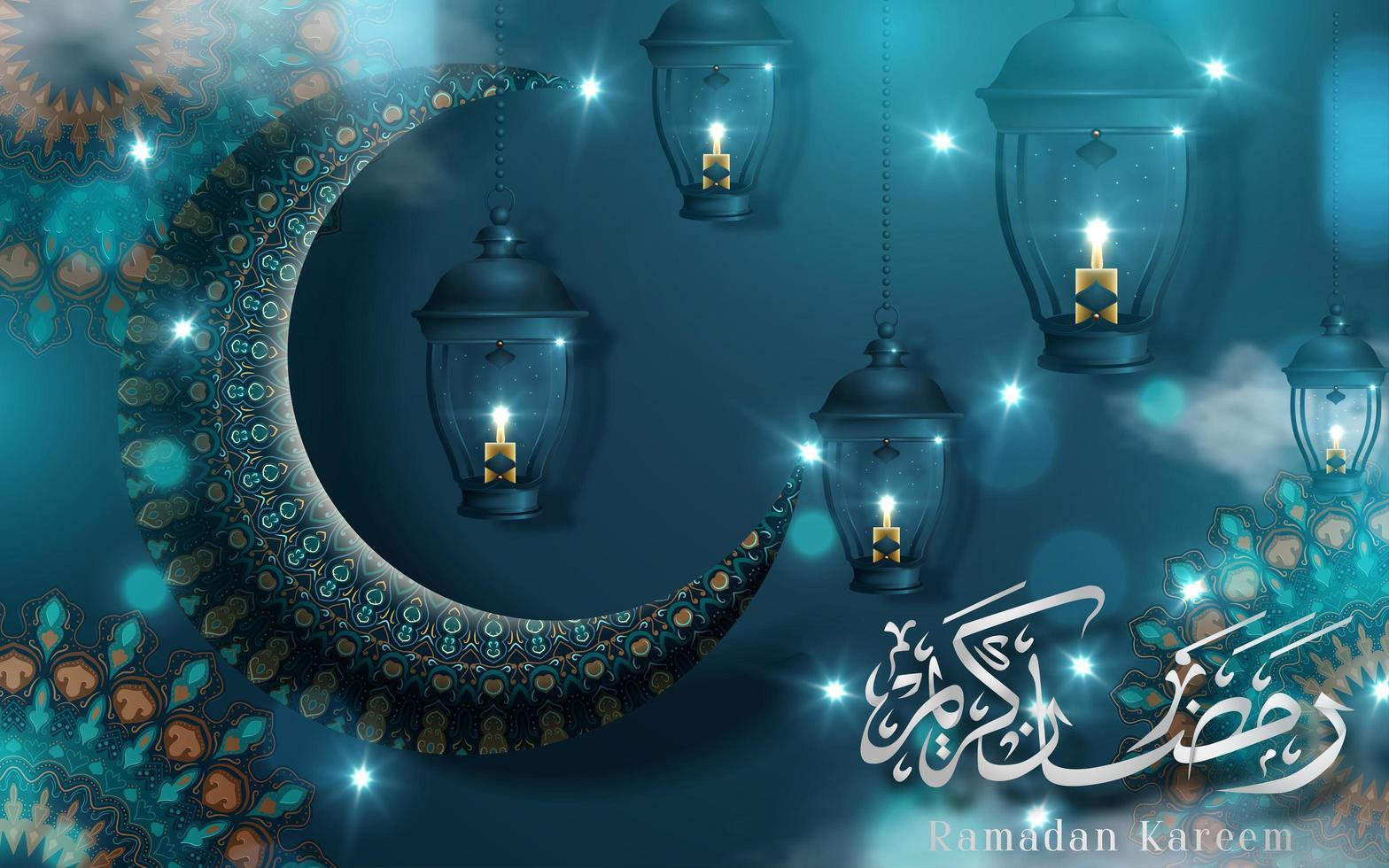 Ramadan Kareem turquesa saudação com lua e lanternas vetor