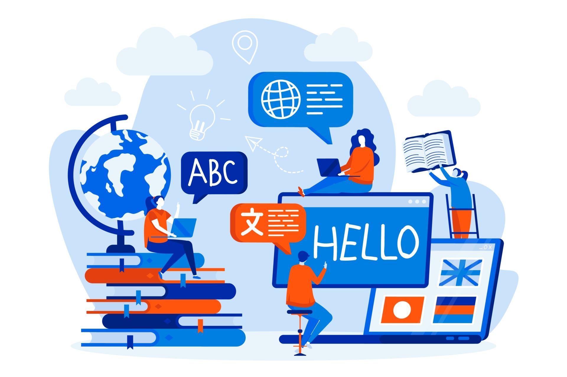 Cursos De Linguas Web Design Com Personagens De Pessoas 2314277 Vetor No Vecteezy