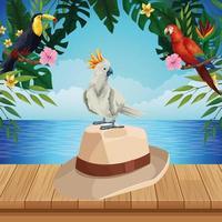 fundo de verão com chapéu e pássaro