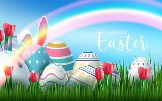 Saudações de feliz Páscoa com. ovos de páscoa e arco-íris