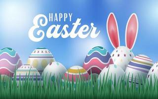 ovos de páscoa com orelhas de coelho design de cartão de páscoa vetor