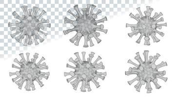 vírus microscópico baixo poli 2019-ncov vetor