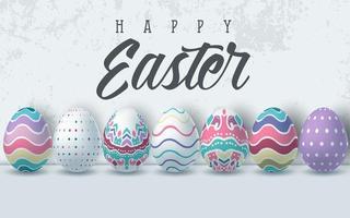 fundo de feliz páscoa com ovos de páscoa realistas vetor