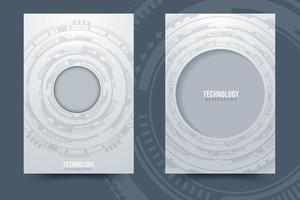 fundo de tecnologia do círculo cinza e branco vetor