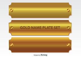 Conjunto de placas de nome de ouro vetor