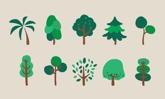 Conjunto de ilustrações de árvores vetoriais vetor