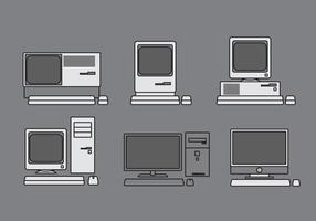 Conjunto de ilustração de computador vetorial vetor