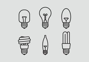 Conjunto de ícones da lâmpada vetorial
