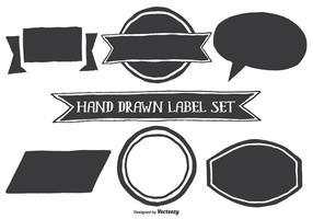 Formas de etiqueta de estilo desenhadas à mão vetor
