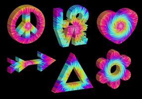 Ícones 3D de Tie Dye vetor
