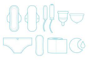 Conjunto de ícones de arte de linha feminina de higiene