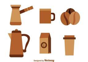 Ícones Brown café vetor