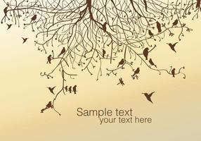 Vector de árvore e pássaro