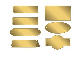 Vetor de placa de nome de ouro grátis