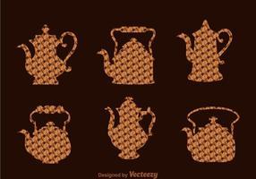 Café árabe e pote de chá vetor