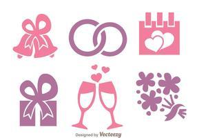 Ícones rosa e roxo do casamento vetor
