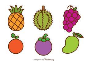 Ícones de desenhos animados de frutas vetor