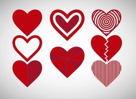 Ícones dos corações vermelhos vetor