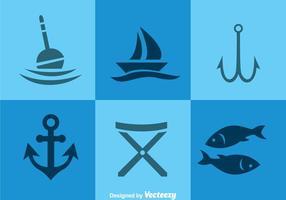 Ícones Elementos de Pesca vetor