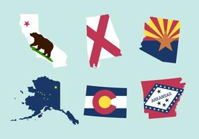 Conjunto de Mapas e Bandeiras do Estado vetor