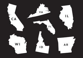 Conjunto de vetores de silhuetas de mapa de estado