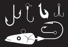 Coleção de ganchos de pesca no vetor