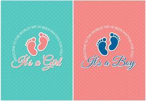Cartões vetoriais grátis para chegada do bebê vetor