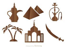 Ícones árabes e castanhos vetor
