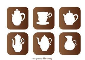 Ícones brancos de pote de café árabe vetor