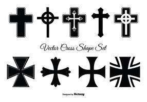Conjunto de formas cruzadas sortidas vetor