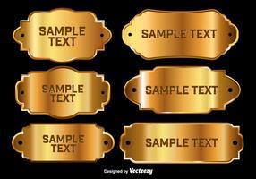 Placas brilhantes de nome dourado vetor