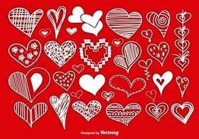 Corações desenhados à mão com estilo Scrapbook vetor
