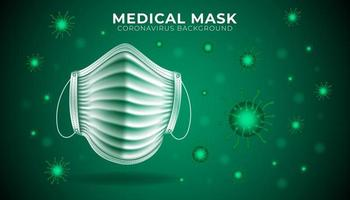 fundo de proteção de máscara médica verde vetor